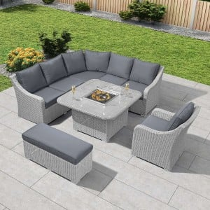 Nova Garden Furniture Harper Rattan Deluxe Corner Dining Set with Fire Pit Table