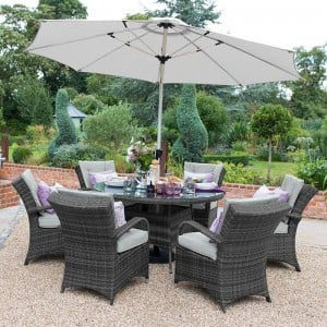 Nova Garden Furniture Olivia Grey Weave 6 Seat Round Dining Set