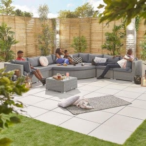 Nova Garden Furniture Deluxe Hampton White Wash 2A Rattan Corner Sofa Set with Coffee Table