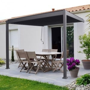 Nova Garden Furniture Titan Grey 3.6m x 3m Rectangular Aluminium Wall Mounted Pergola
