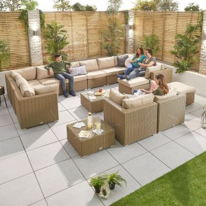 Nova Garden Furniture Chelsea Willow Rattan 5A Corner Sofa Set with Coffee Table