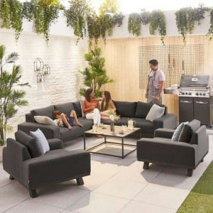 Nova Garden Furniture Tranquility Dark Grey Fabric Corner Sofa Set with 2 Lounge Chairs