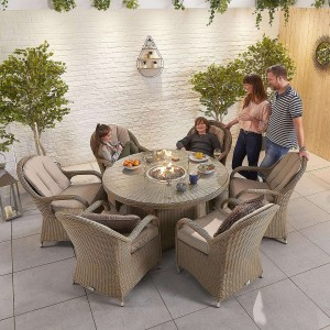Nova Garden Furniture Leeanna Willow Rattan 6 Seat Round Dining Set with Fire Pit