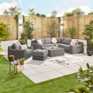 Nova Garden Furniture Luxor Slate Grey Rattan 1D Corner Sofa Set with Armchair & Footstool