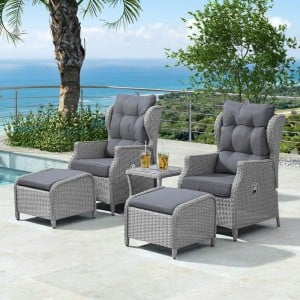 Nova Garden Furniture Skylar White Wash Rattan Reclining Armchair Lounge Set