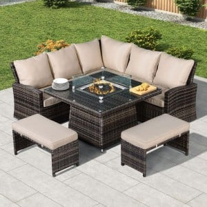 Nova Cambridge Brown Rattan Corner Dining Set with Fire Pit Table