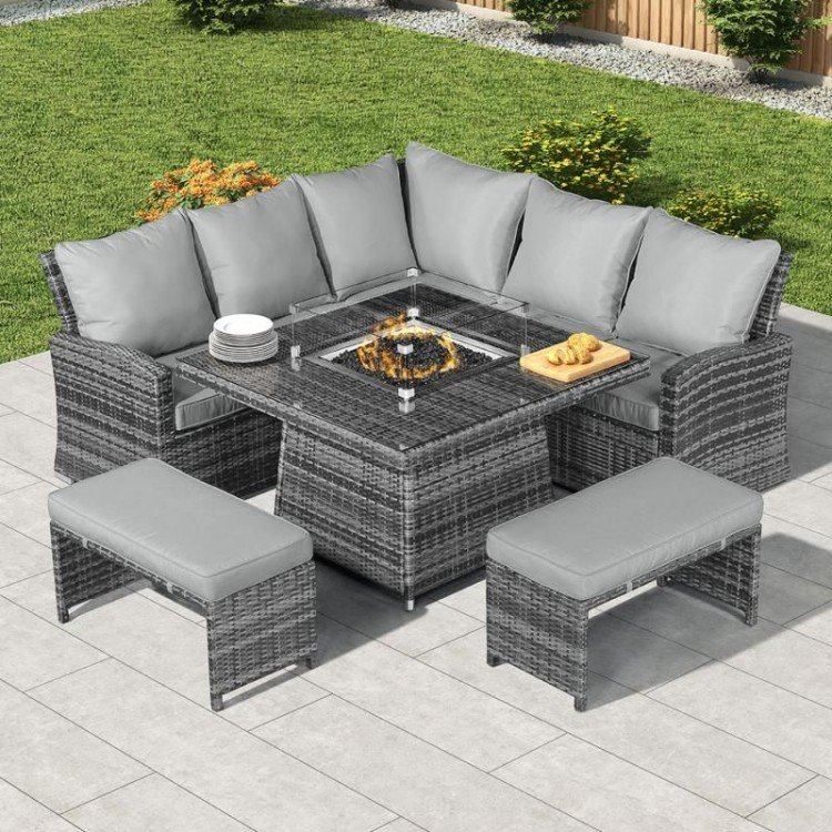 Nova Garden Furniture Cambridge Grey Rattan Corner Dining Set with Fire Pit Table