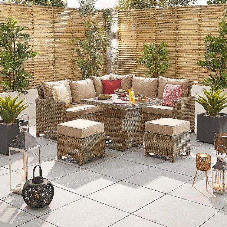 Nova Garden Furniture Ciara Willow Rattan Compact Corner Dining Set with Rising Table