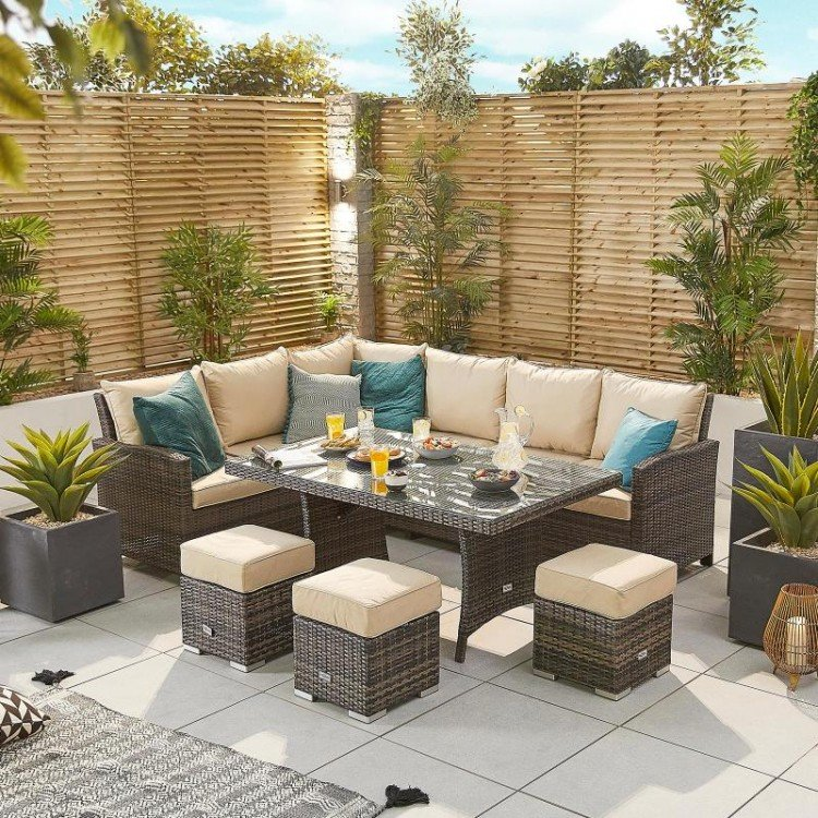 Nova Garden Furniture Cambridge Brown Rattan Left Hand Corner Dining Set with Parasol Hole Table