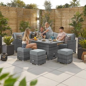 Nova Garden Cambridge Grey PE Synthetic Rattan Left Hand Corner Dining Set with Rising Table