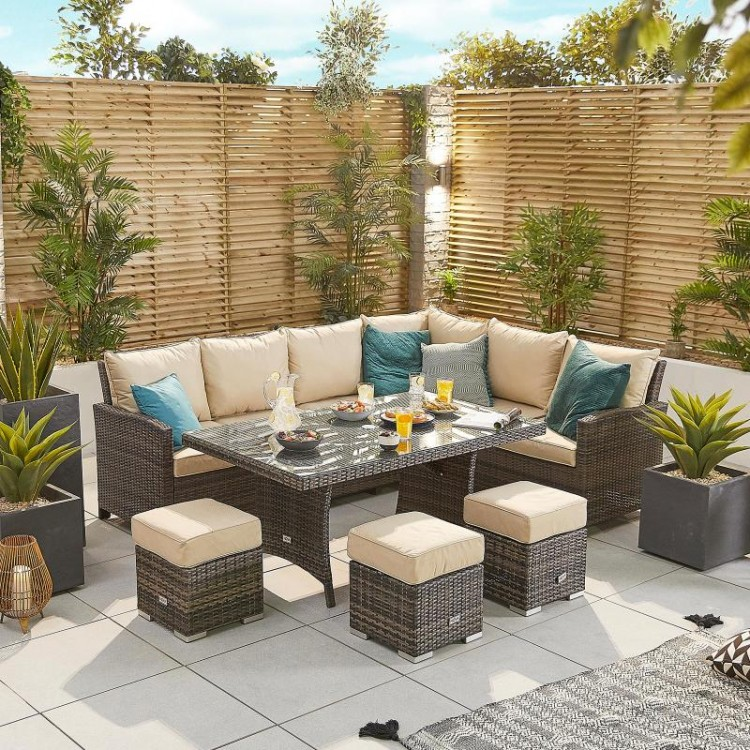 Nova Garden Furniture Cambridge Brown Rattan Right Hand Corner Dining Set with Parasol Hole Table