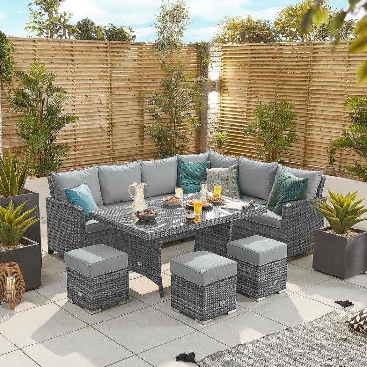 Nova Cambridge Grey Rattan Right Hand Corner Dining Set with Parasol Hole