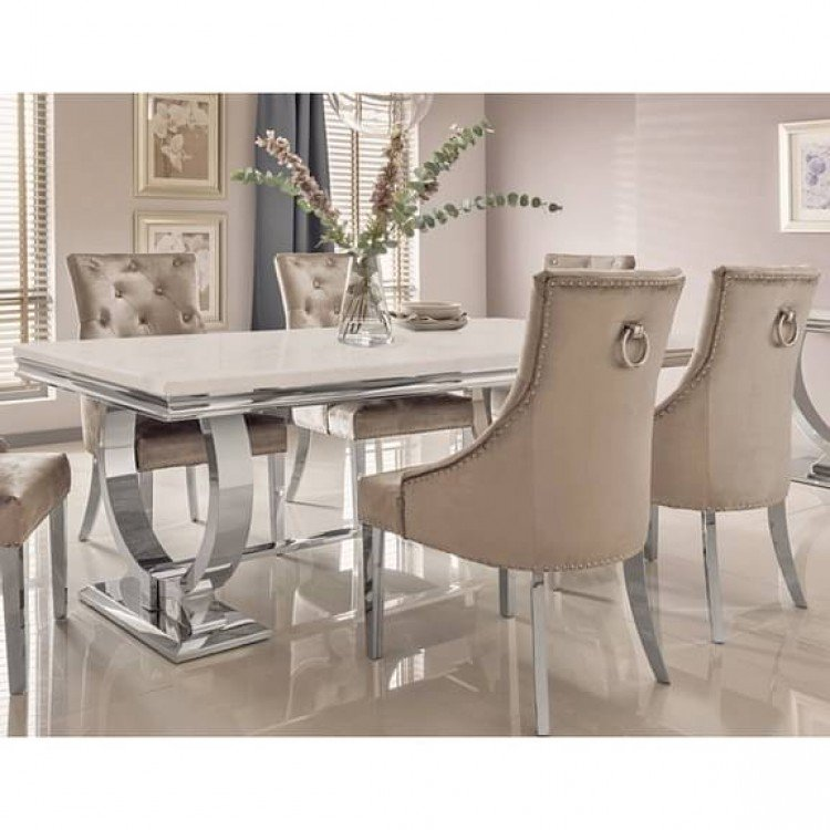 Vida Living Arianna Cream Marble 200cm Dining Table & 10 Belvedere Champagne Chairs