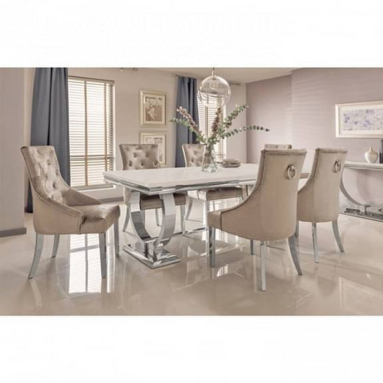 Vida Living Arianna Cream Marble 200cm Dining Table & 8 Belvedere Champagne Chairs