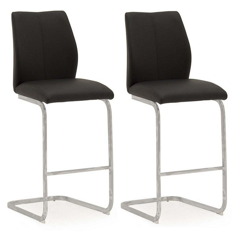 Vida Living Elis Black Faux Leather Bar Chair Pair