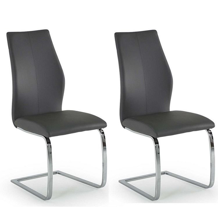 Vida Living Elis Grey Faux Leather Dining Chair Pair