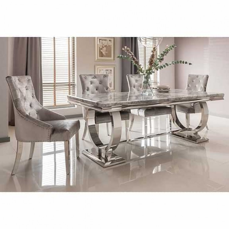 Vida Living Arianna Grey Marble 180cm Dining Table & 4 Belvedere Pewter Chairs