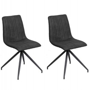 Vida Living Isaac Charcoal PU Leather Dining Chair Pair