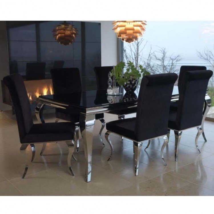 Vida Living Louis Metal Furniture Black 200cm Dining Table and 6 Chairs