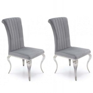 Clearance Vida Living Nicole Silver Fabric Dining Chair Pair