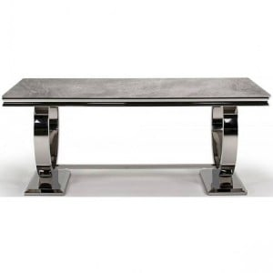 Vida Living Arianna Grey Marble & Chrome 180cm Rectangular Dining Table