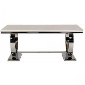 Vida Living Arianna Cream Marble & Chrome Large 200cm Rectangular Dining Table