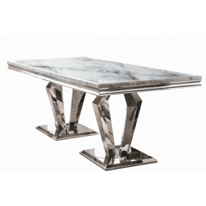 Vida Living Arturo Grey Marble and Chrome 160cm Rectangular Dining Table
