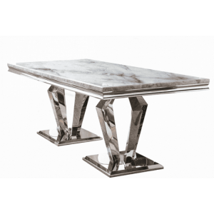 Vida Living Arturo Grey Marble and Chrome 180cm Rectangular Dining Table
