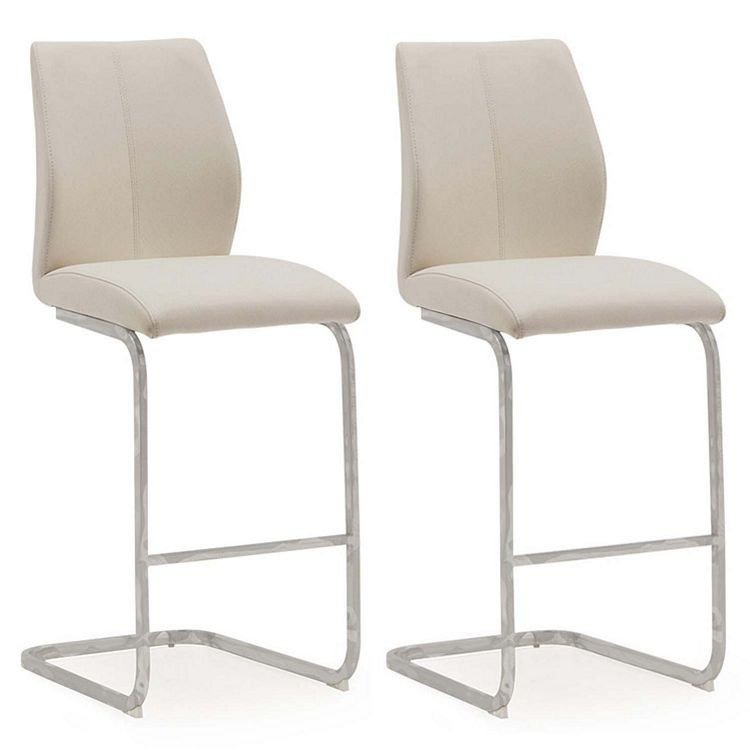 Vida Living Elis Taupe Faux Leather Bar Chair Pair