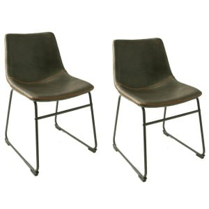 Glazier Industrial Metal Furniture Grey Leather Dining Chair Set Of 2
