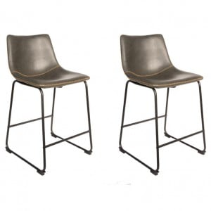 Glazier Industrial Metal Furniture Chestnut Leather Dining Chair Set Of 2