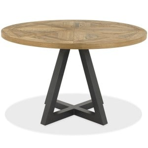 Bentley Designs Indus Industrial Oak Furniture Circular 4 Seater Dining Table