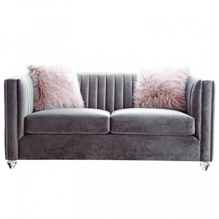 Besp-Oak Contemporary Sofas Crawford Velvet Fabric Pink 2 Seater Sofa