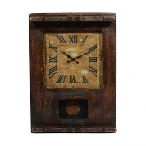 Upcycled Collection Old Wooden Dark Brown Chapati Table Clock