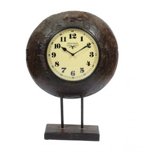 Upcycled Collection Old Wooden Bowl Clock with Base