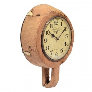 Upcycled Collection Old Wooden Bowl Clock with Brass Ring Clock