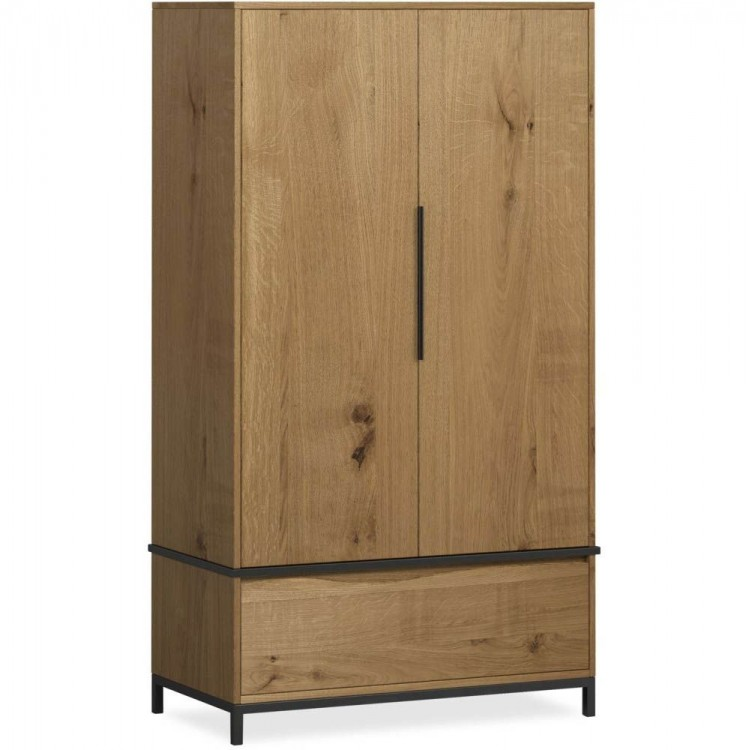 Corndell Oak Mill Oak and Metal Furniture 2 Door Wardrobe
