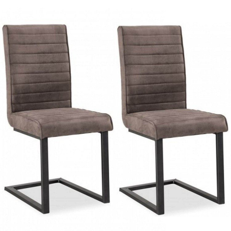 Corndell Furniture Oak Mill Grey Faux Leather Dining Chair (Pair)