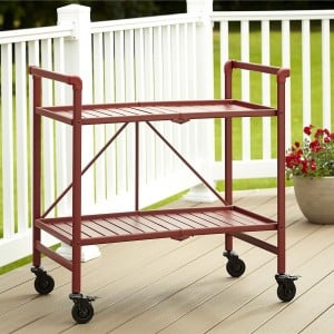 Cosco Outdoor Living Intellifit Ruby Red Folding 2 Shelf Serving Cart