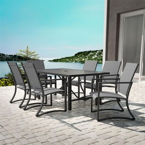Cosco Outdoor Living Capitol Hill Patio Light Grey 6 Seater Dining Set