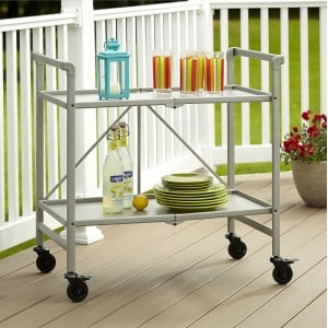 Cosco Outdoor Living Intellifit Folding 2 Shelf Serving Cart in Silver