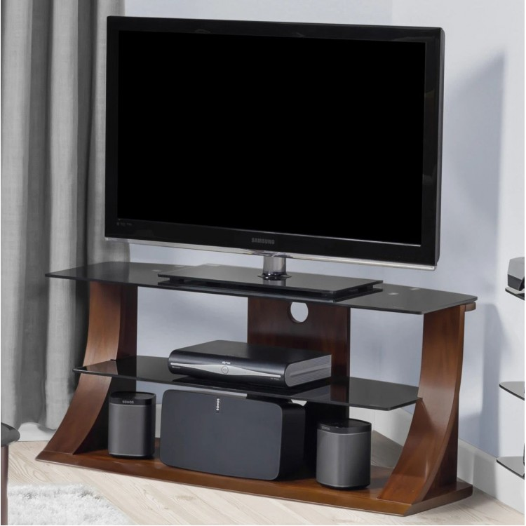 Jual Florence Walnut Furniture 1100 TV Stand With Tempered Glass