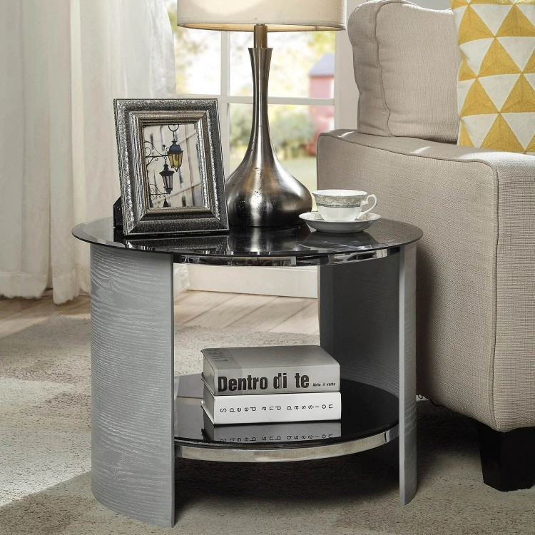 Jual San Marino Grey Furniture Round Lamp Table with Tempered Glass