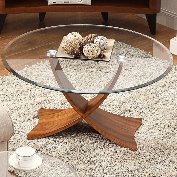 Jual Siena Walnut Furniture Round Coffee Table with Sweeping Legs