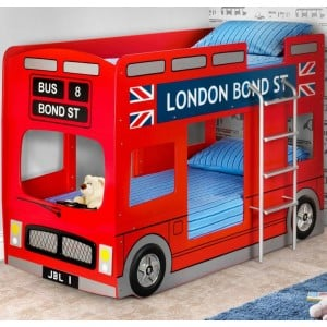 Julian Bowen Furniture London Double Decker Bus Red Bunk Bed