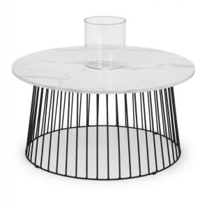 Julian Bowen Metal Furniture Broadway Round Coffee Table with White Marble Top