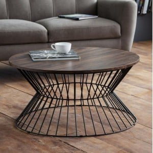 Julian Bowen Metal Furniture Jersey Round Wire Coffee Table with Walnut Top