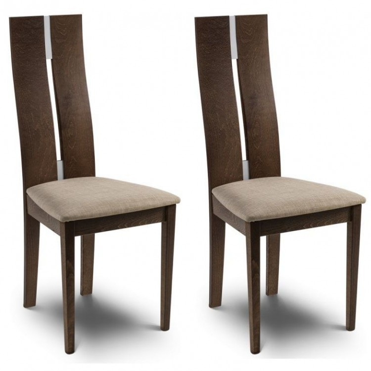 Julian Bowen Cayman Walnut Sculpted High Back Dining Chair Pair