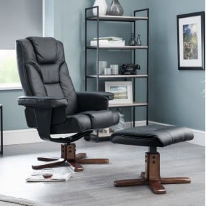 Julian Bowen Furniture Malmo Black Faux Leather Recliner and Footstool Set