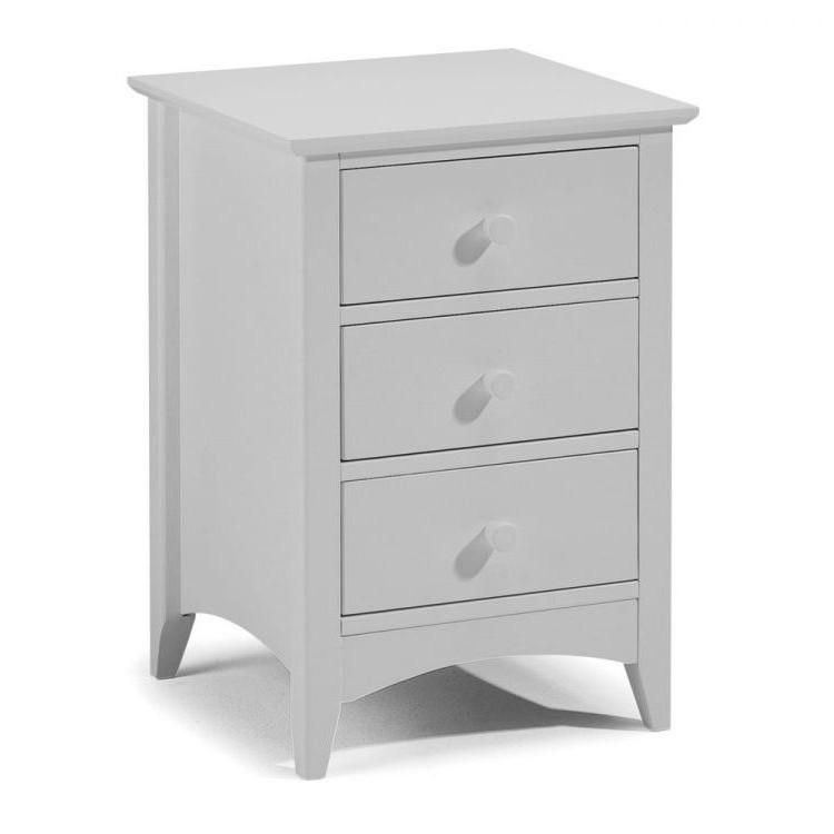 Julian Bowen Painted Furniture Cameo Dove Grey 3 Drawer Bedside